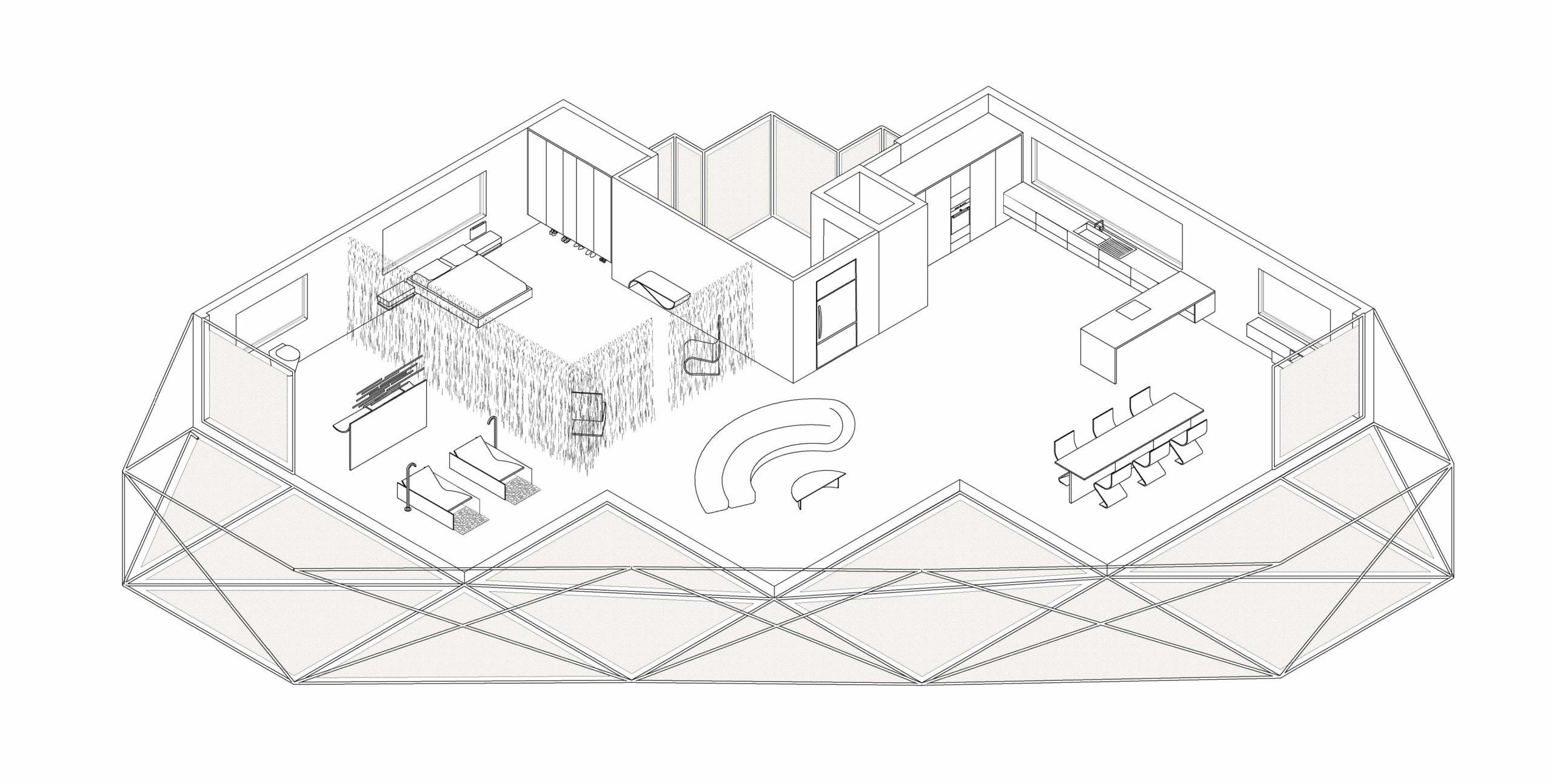 Perspectiva isométrica de apartamento en Urbanova
